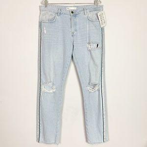 Zara | distressed hi rise boyfriend jeans size 8